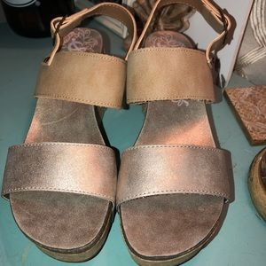 New Bronze and Tan/Taupe Wedge